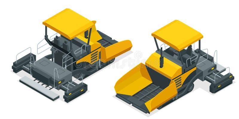 Isometrische Asfaltbetonmolen, asfalt het uitspreiden machine onder de witte achtergrond Vector illustratie vector illustratie