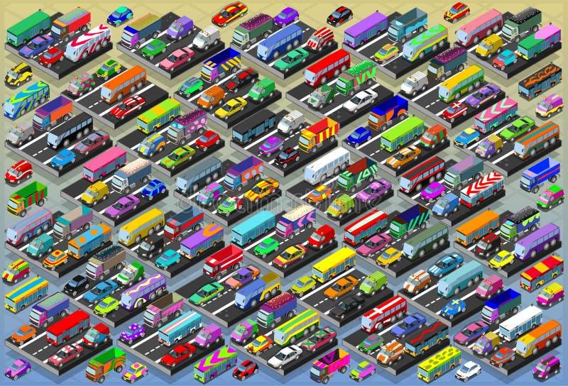 Isometrische Auto's, Bussen, Vrachtwagens, Bestelwagens, Megainzameling allen binnen royalty-vrije illustratie