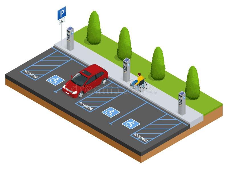Isometrische Auto's in het parkeerterrein of autoparkeren voor de gehandicapten Isometrische Auto's in het parkeerterrein of auto royalty-vrije illustratie