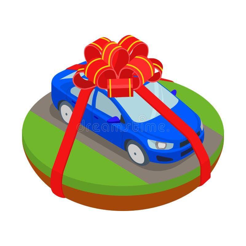 Isometrische auto zoals gift in vector vlak vervoersconcept vector illustratie