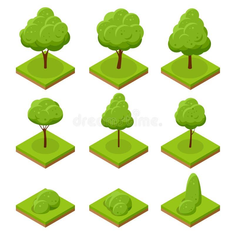 Isometrische Bäume und Büsche Sammlung Bäume lokalisiert auf weißem Hintergrund Für infographics, Spiel und Design vektor abbildung