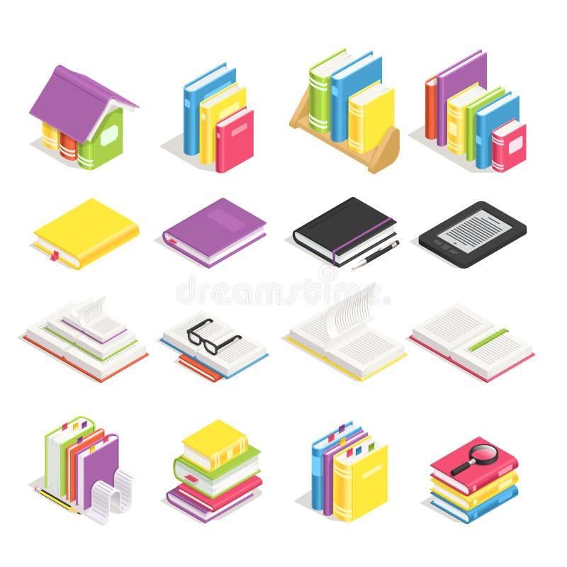 Isometrische Bücher Schulen Sie Lehrbuch, Buch mit Bookmark und Notizbuch mit Stift Stapel Lehrbücher auf Bibliotheksbücherregal lizenzfreie abbildung