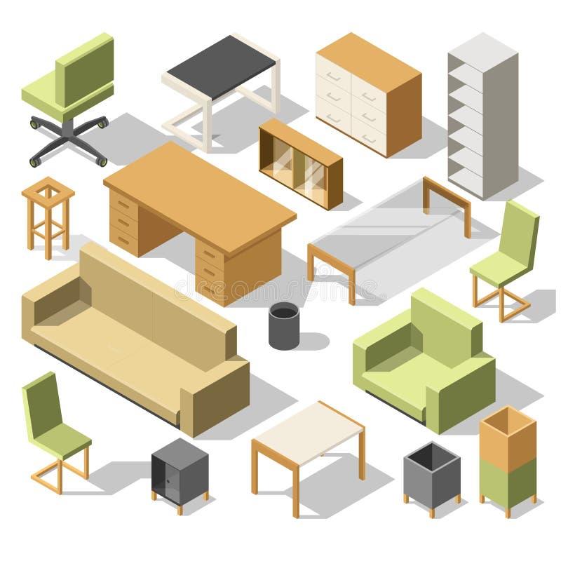 Isometrische Büromöbel Kabinett 3d mit Tabelle, Stühle und Lehnsessel, Sofa und Regale Glänzendes und glattes Schild und Taste mi stock abbildung