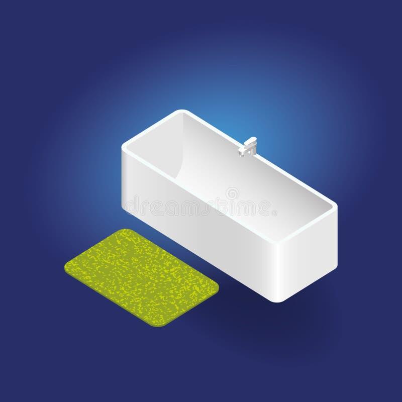 isometrische Badewanne des Vektors 3d mit Wolldecke stock abbildung