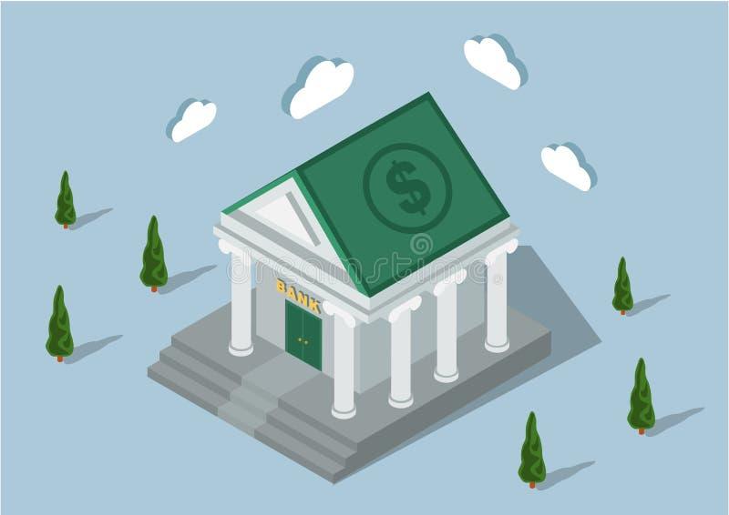 Isometrische bank stock illustratie
