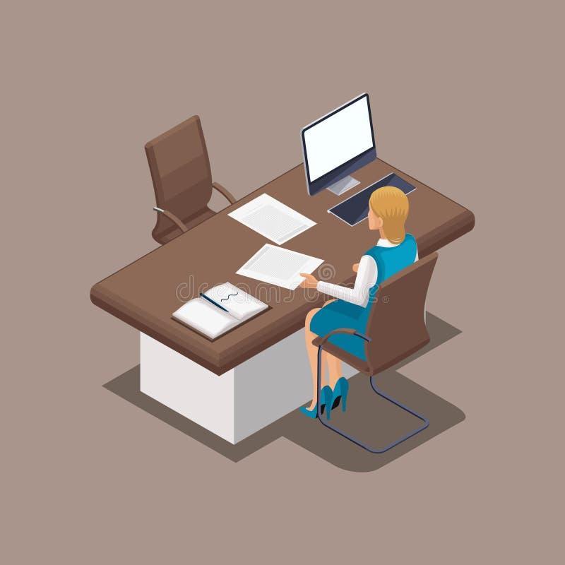 Isometrische Bankarbeitskraft, Manager der hinteren Ansicht Darlehenslieferung in bar Eingebrannte Kleidung, Kleiderordnung Schön vektor abbildung
