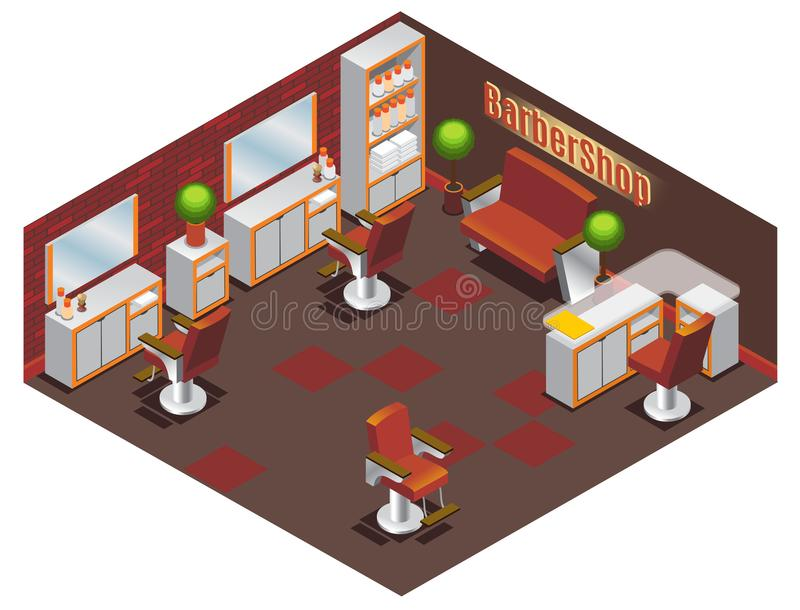Isometrische Barber Shop Interior Concept stock illustratie