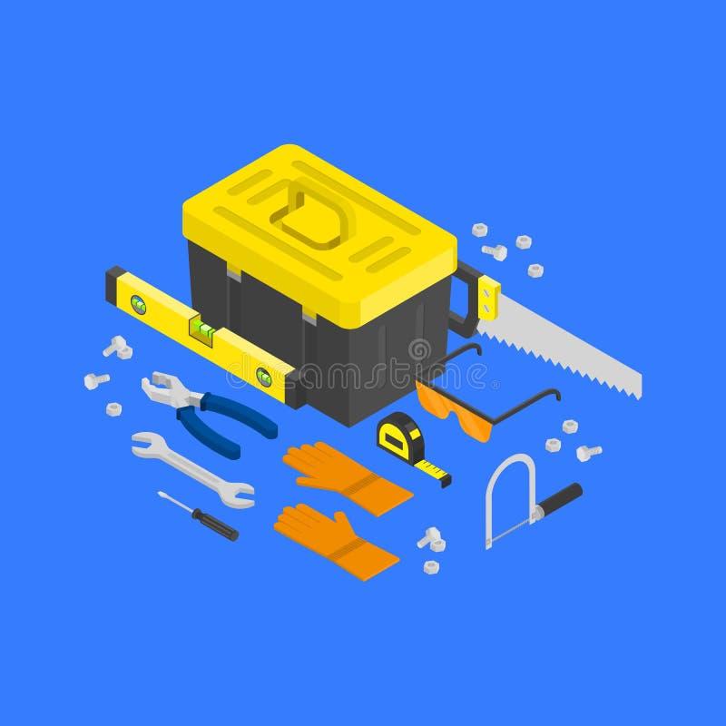 Isometrische Bauwerkzeuge des Vektors um toolcase Konzept Haus, das Ausrüstung in isometry umgestaltet Reparatur und Gebäude vektor abbildung