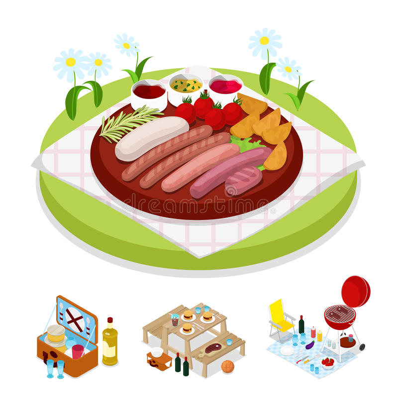 Isometrische BBQ-Picknick-Tasche Sommerferienlager Gegrilltes Fleisch und Gemüse stock abbildung