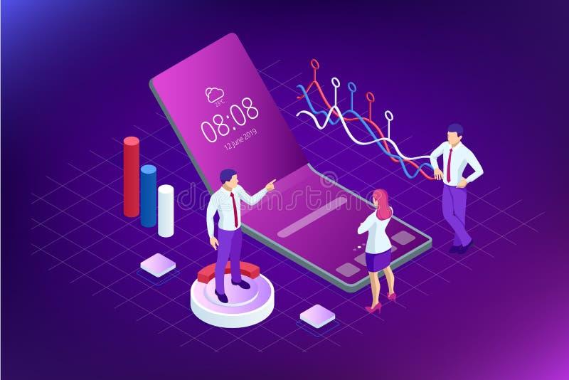 Isometrische Bedrijfs en Financiënanalisten, die Key performance indicator, Bedrijfsgegevensanalist en Controle analyseren royalty-vrije illustratie