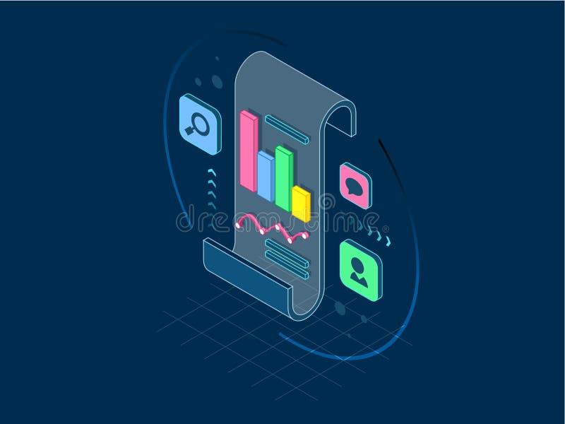 Isometrische bedrijfsanalyse en planning, het raadplegen, projectleiding, financieel verslag en strategieconcept, lijn vector illustratie