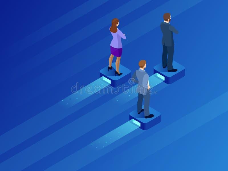 Isometrische bedrijfsleider en groepswerk Bedrijfspersonen die op het vliegende moderne platform in evenwicht brengen Het zoeken  vector illustratie