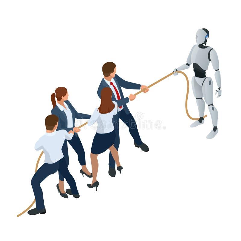 Isometrische bedrijfsmensen en robot die met kunstmatige intelligentie in kostuumtrekkracht de kabel, de concurrentie, conflict b vector illustratie