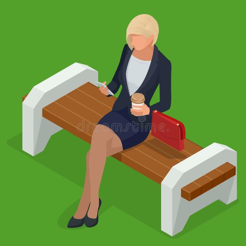 Isometrische bedrijfsvrouw in collectieve kleding, modieuze kleding Bedrijfsvrouw die op bank in park en het kijken rusten stock illustratie