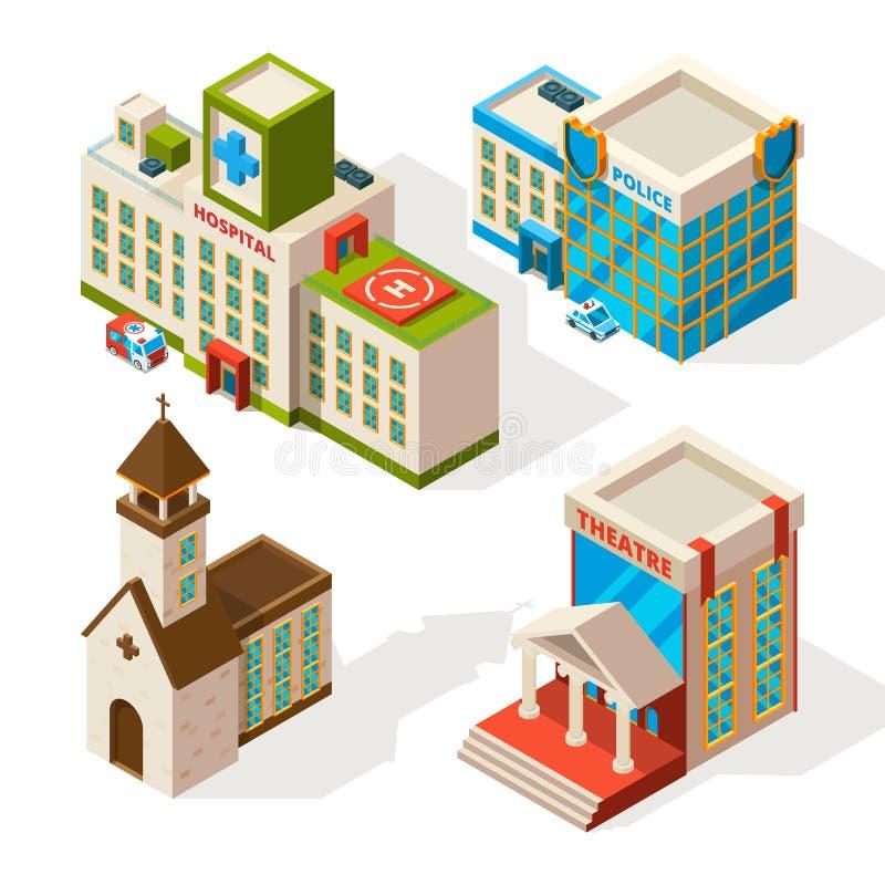 Isometrische beelden van gemeentelijke gebouwen De vector 3d architectuur isoleert op wit vector illustratie