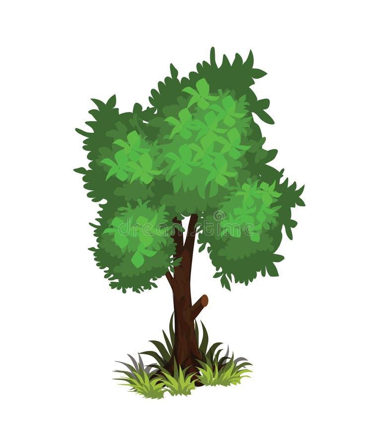 Isometrische Beeldverhaal Dichtbegroeide Groene Boom - Element voor Tileset-Kaart, Landschapsontwerp of Spelobjecten Reeks royalty-vrije illustratie