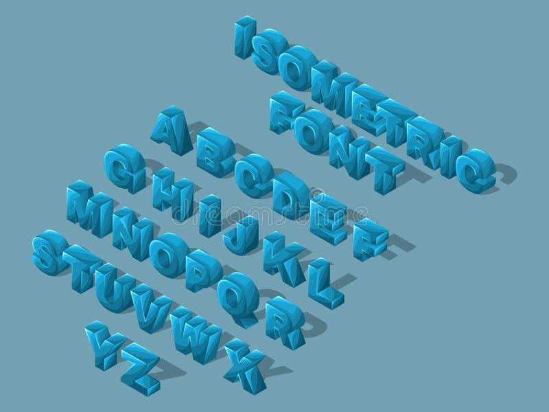 Isometrische beeldverhaaldoopvont, 3D brieven, heldere grote reeks blauwe brieven van het Engelse alfabet om vectorillustraties t vector illustratie