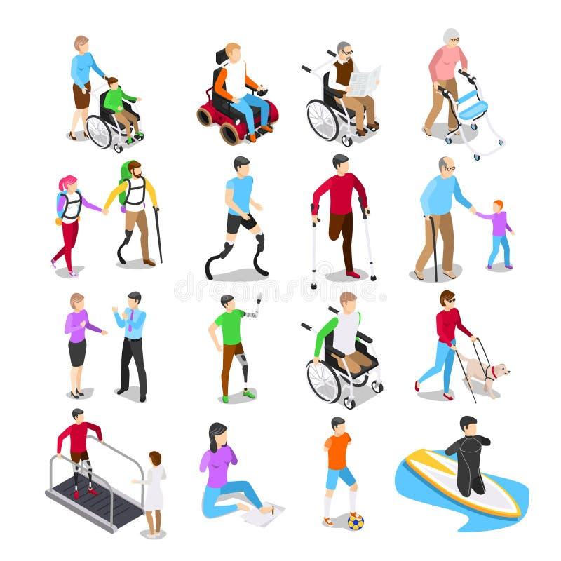 Isometrische Behinderter Unfähigkeitssorgfalt, behinderter älterer Senior im Rollstuhl und Glied Prostheticsvektorsatz vektor abbildung