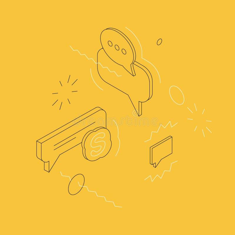 Isometrische Bellen en Berichtenillustratie op Gele Achtergrond stock afbeeldingen