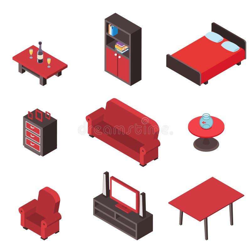 Isometrische bequeme hölzerne Rauminnenikonen der Möbel 3d stellten lokalisierte Entwurfsvektorillustration ein stock abbildung