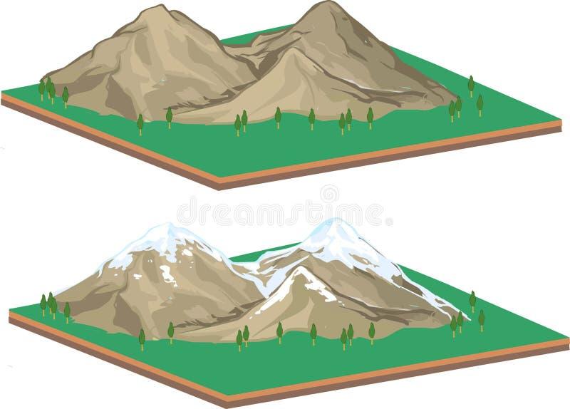Isometrische Berglandschaft stock abbildung