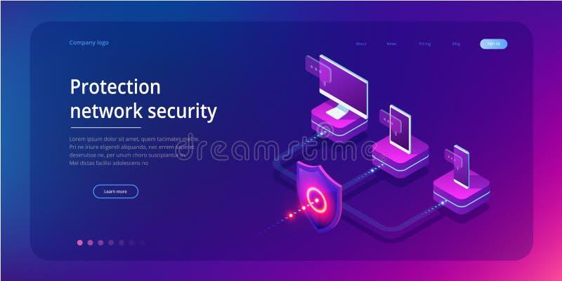 Isometrische Beschermingsnetwerkbeveiliging en brandkast uw gegevensconcept Webpaginaontwerpsjablonen Cybersecurity Digitale Misd vector illustratie