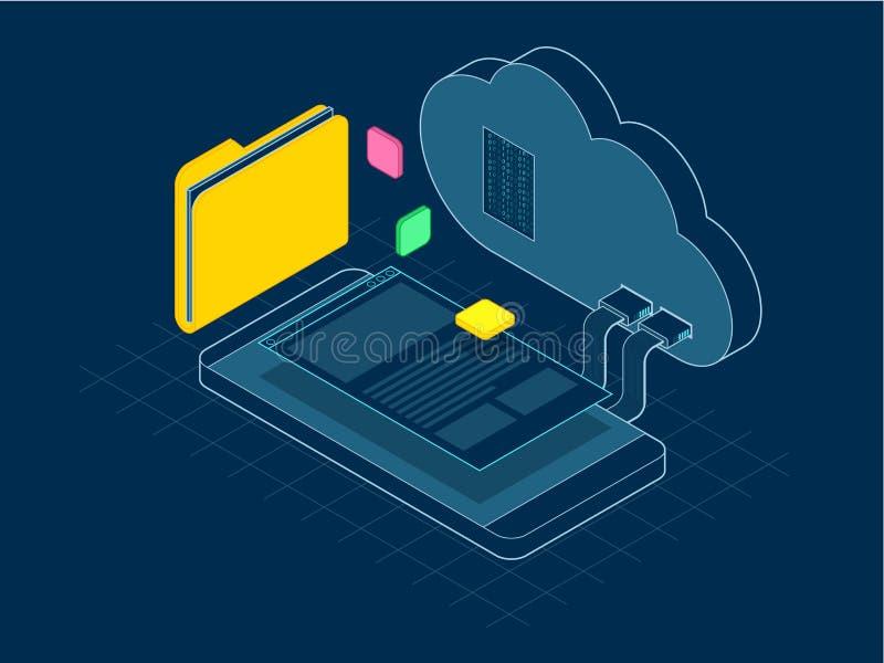 Isometrische bewegliche Wolke, Wolkenspeicher oder Datenübertragungen auf Internet-Konzept Unternehmens-Ressource, die an APP pla vektor abbildung