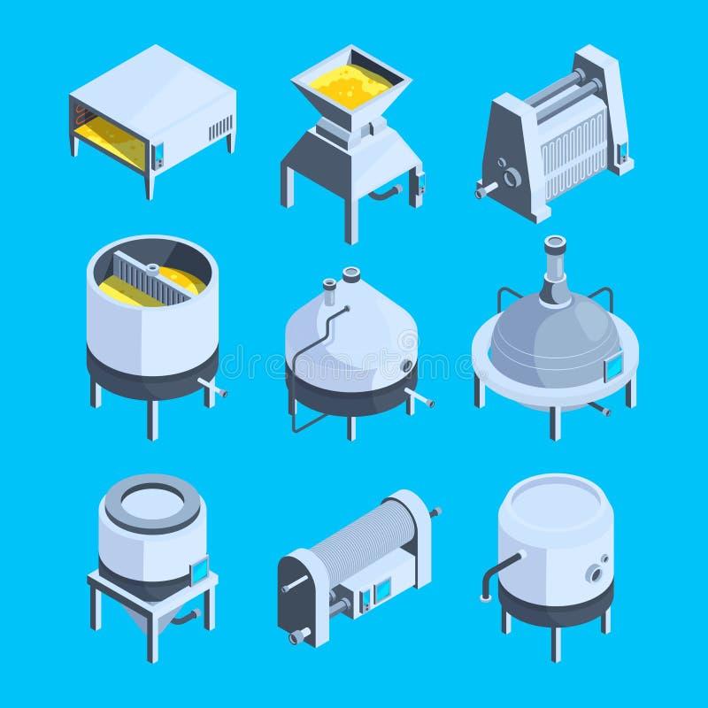 Isometrische brouwerij Vectorinstallatie voor productie van bier royalty-vrije illustratie