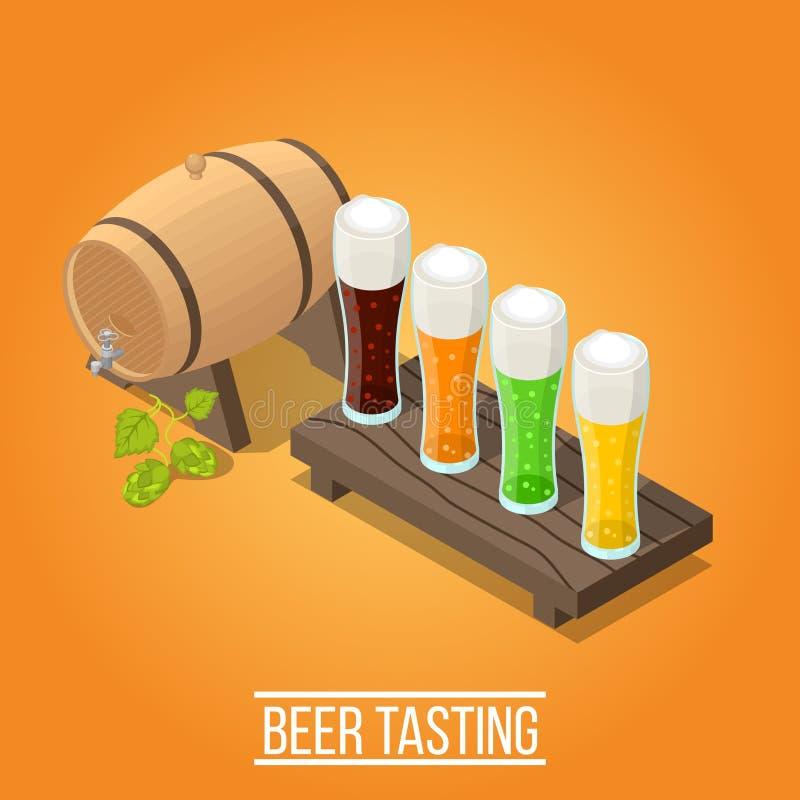 Isometrische Brouwerijachtergrond stock illustratie