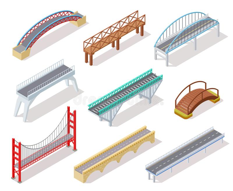 Isometrische brug De concrete de rivierboog van de bruggenophaalbrug het overbruggen geïsoleerde 3d elementen van de stadsweg inf vector illustratie