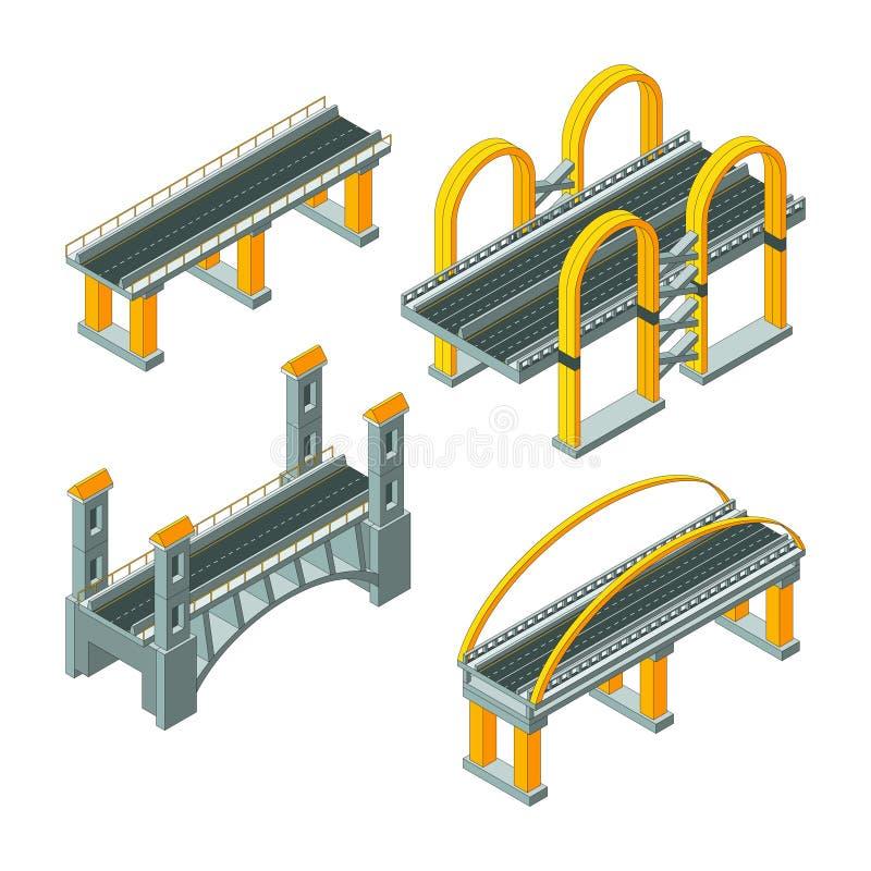Isometrische brug De rijweg die van de stadssnelweg de stedelijke auto 3d vector lage polyinzameling van het infrastructuurviaduc royalty-vrije illustratie