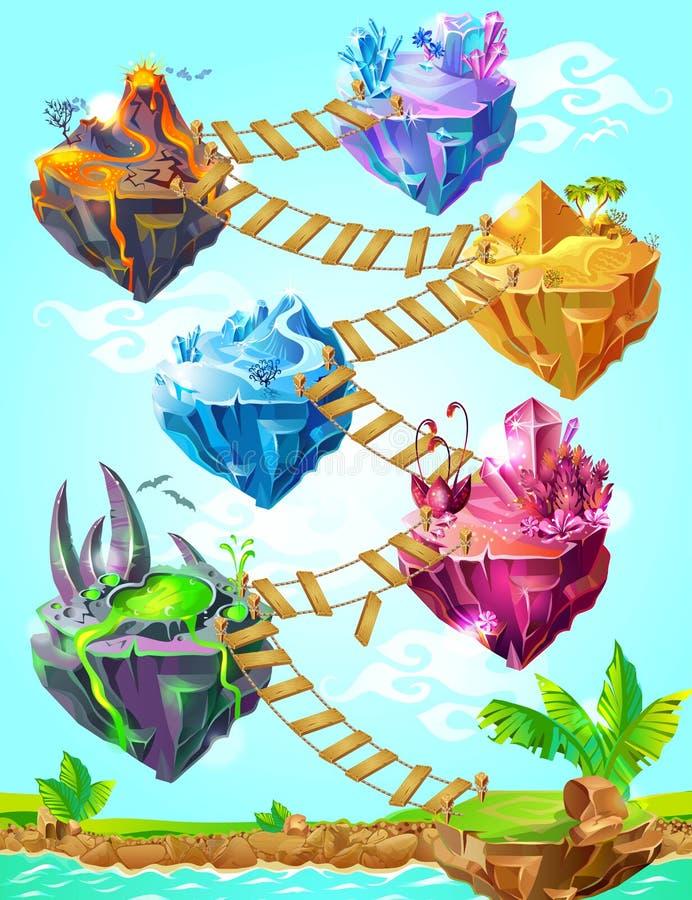Isometrische bunte Spiel-Insel-Schablone stock abbildung