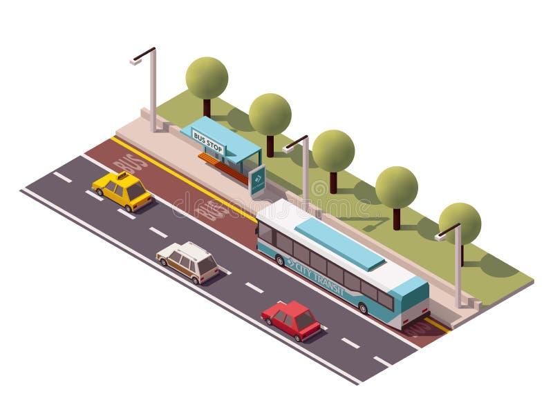 Isometrische Bushaltestelle des Vektors lizenzfreie abbildung
