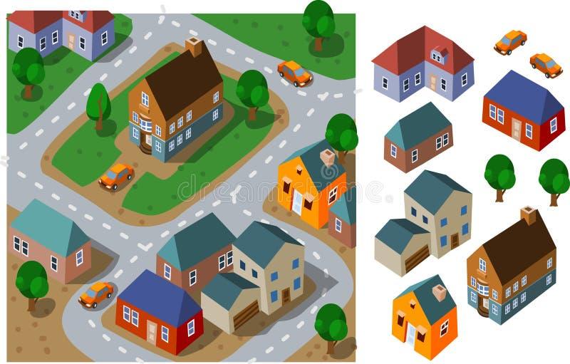 Isometrische buurt stock illustratie