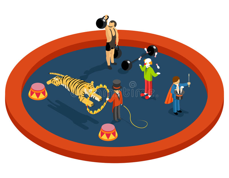 Isometrische Charaktere des Zirkusses 3d Tiertrainer lizenzfreie abbildung