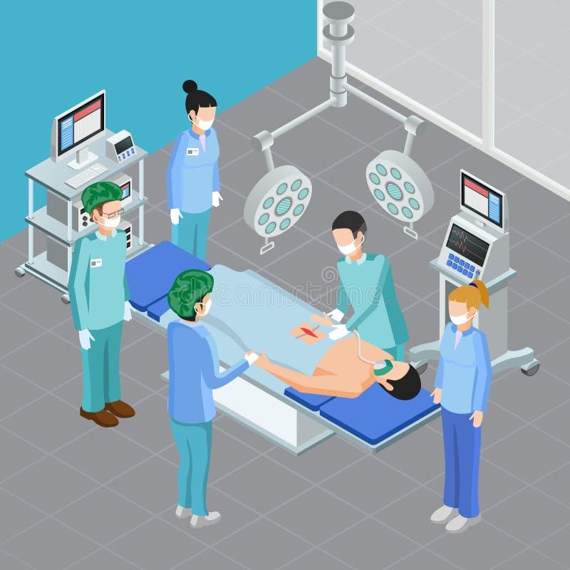 Isometrische Chirurgiezaal Samenstelling vector illustratie