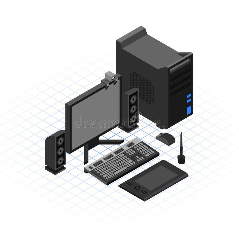 Isometrische Computer Vastgestelde Vectorillustratie vector illustratie