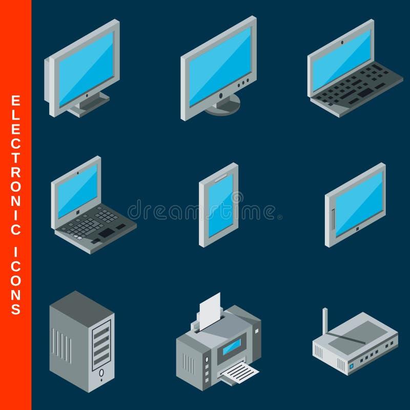 Isometrische computerapparatuurpictogrammen royalty-vrije illustratie