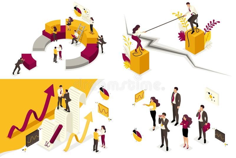 Isometrische concepten bedrijfsprocessen van bedrijfsglobalisering, meningsverschillen in zaken, vennootschap, contract Om te cre vector illustratie