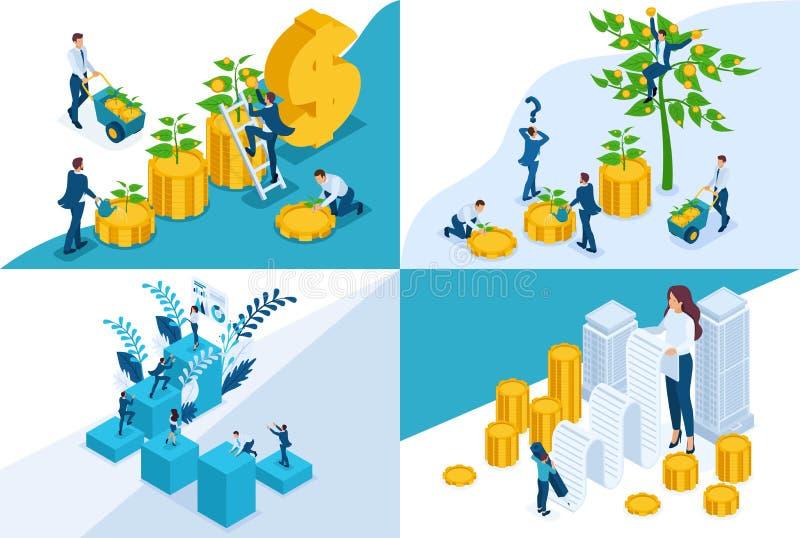 Isometrische concepten investering, Stortingsopslag van geld, de bankwezendiensten Voor website en mobiel toepassingsontwerp royalty-vrije illustratie
