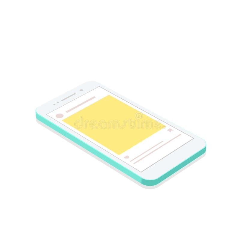 Isometrische conceptensmartphone met sociale netwerkachtergrond van toepassing stock afbeeldingen