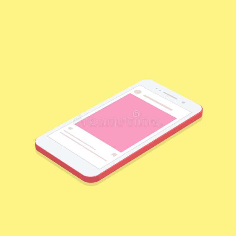 Isometrische conceptensmartphone met sociale netwerkachtergrond van toepassing stock afbeelding