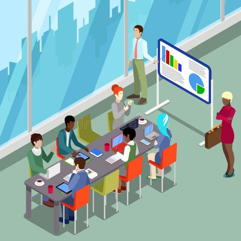 Isometrische Conferentiezaal Bedrijfspresentatie met Mensen vector illustratie