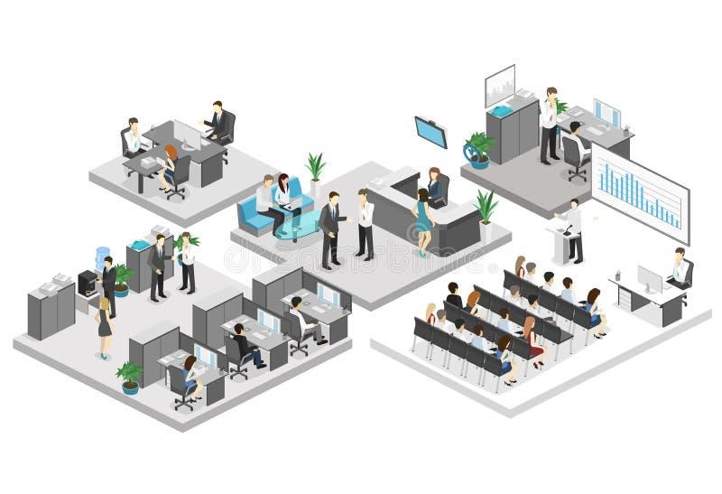 Isometrische conferentiezaal, bureaus, werkplaatsen, directeur van het bureaubinnenland vector illustratie