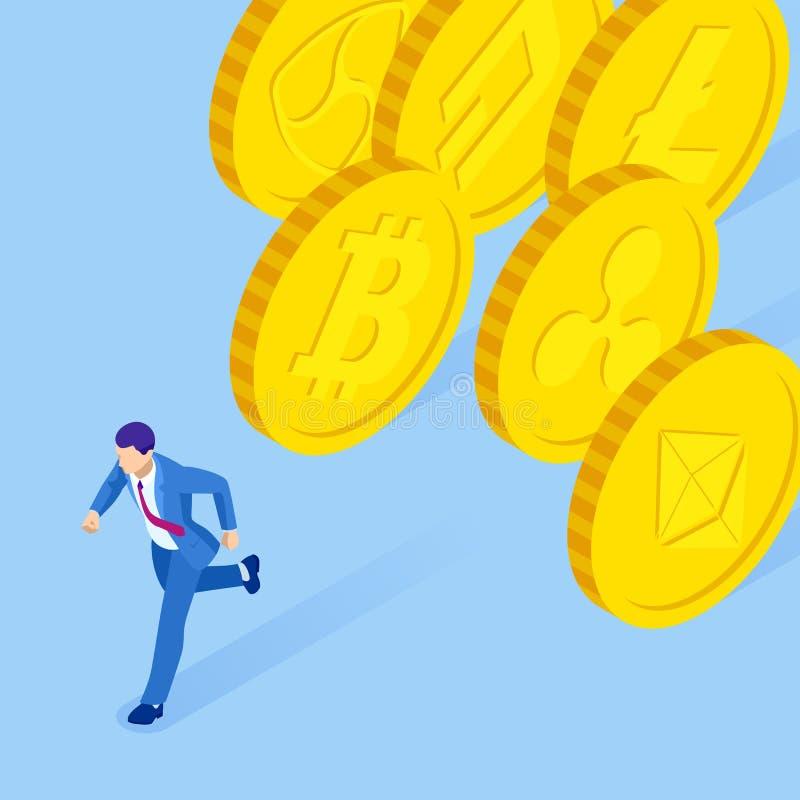 Isometrische cryptocurrency bedrijfsmensenmijnwerker en muntstukkenconcept Malplaatje van de Cryptocurrency het editable banner vector illustratie