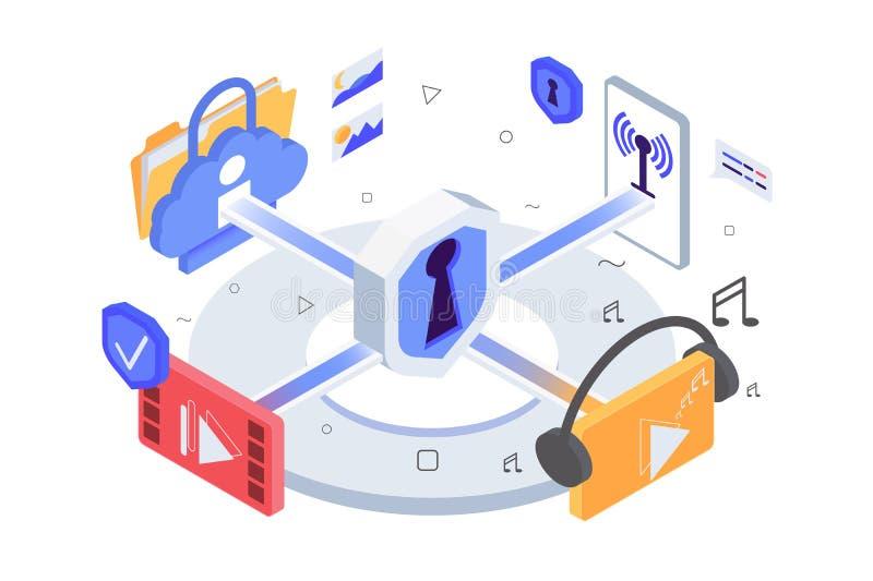 Isometrische 3d app pictogrammen, muziek, video, draadloos netwerk, persoonlijke informatie met gegevensbescherming royalty-vrije illustratie