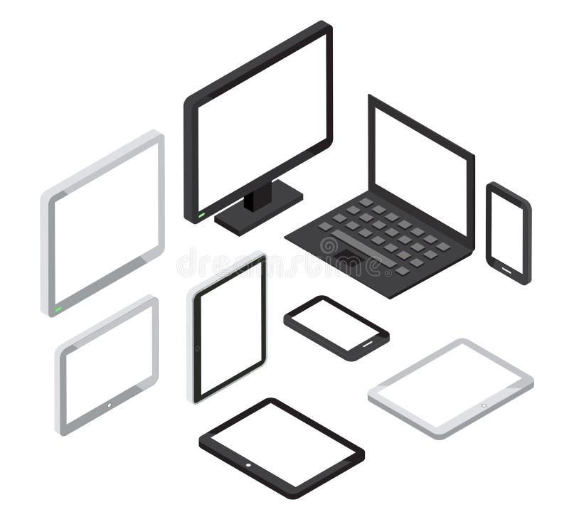 Isometrische 3d computer en laptop, smartphone vectorpictogrammen van tabletpc royalty-vrije illustratie
