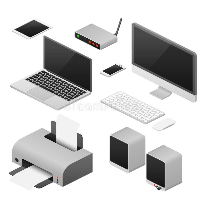 Isometrische 3D digitale vectorcomputers en levering van bureauwerkruimte stock illustratie