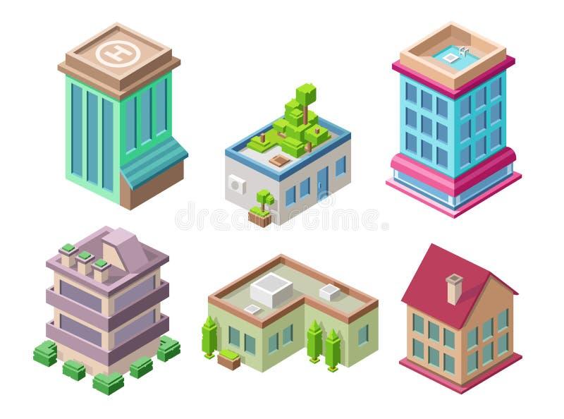 Isometrische 3D gebouwen en van stadshuizen vectorillustratie of bureau en hotelwoonplaatstorens voor bouwontwerp vector illustratie