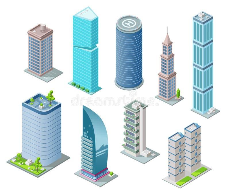 Isometrische 3D gebouwen en van stadswolkenkrabbers illustratie of bureau en hotelwoonplaatstorens voor bouwontwerp stock illustratie